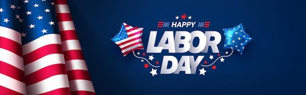 Modello di banner e poster per la festa del lavorocelebrazione della festa del lavoro degli stati uniti con bandiera americana su sfondo blu