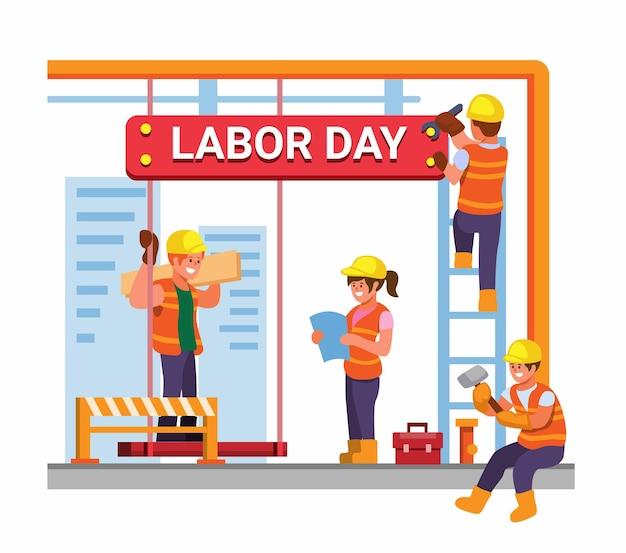 Lavoratore di supporto per la celebrazione della festa del lavoro il 6 settembre con illustrazione vettoriale dell'operaio edile
