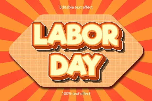 L'effetto di testo modificabile della festa del lavoro in rilievo in stile cartone animato