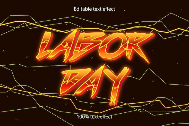 Stile neon effetto testo modificabile festa del lavoro