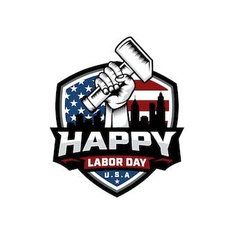 Vettore di progettazione del fondo di logo di festa del lavoro