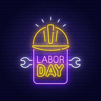 Insegna al neon del labor day