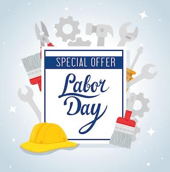 Banner pubblicitario promozione vendita festa del lavoro, con costruzione di strumenti