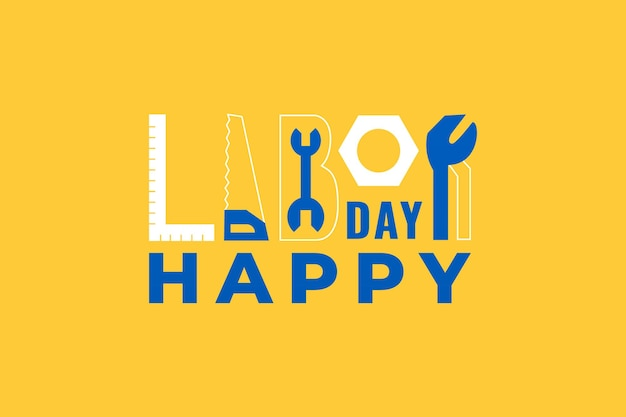 Tipografia della festa del lavoro. illustrazione di vettore per la celebrazione della giornata dei lavoratori usa.