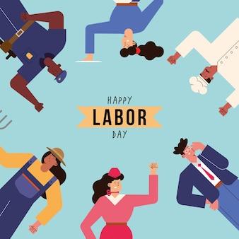 Festa del lavoro con lavoratori professionisti in giro