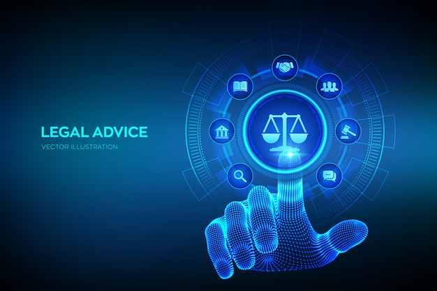 Diritto del lavoro, avvocato, avvocato, concetto di consulenza legale sullo schermo virtuale. diritto di internet e cyberlaw come servizi legali digitali o consulenza di avvocati online. mano che tocca l'interfaccia digitale.