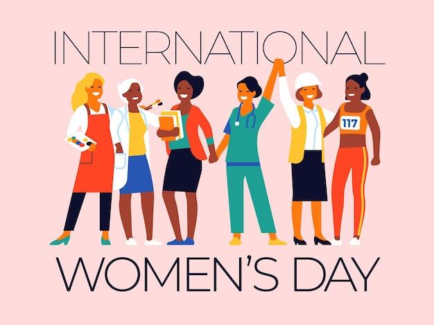 Manifesto della festa delle donne del lavoro. vacanza femminile internazionale. persone di diverse professioni. il gruppo di amici del fumetto si tiene per mano potere delle ragazze. persone felici in divisa da lavoro. concetto di vettore