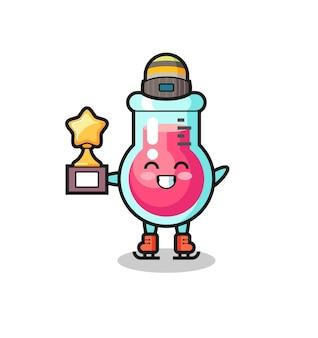 Il fumetto del bicchiere da laboratorio come un giocatore di pattinaggio sul ghiaccio tiene il trofeo del vincitore, un design in stile carino per t-shirt, adesivo, elemento logo