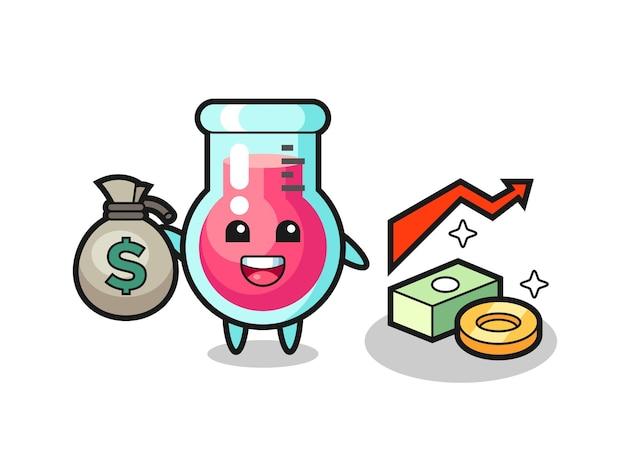 Fumetto dell'illustrazione del bicchiere da laboratorio che tiene il sacco dei soldi, design in stile carino per t-shirt, adesivo, elemento logo