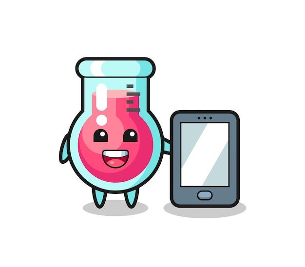 Fumetto dell'illustrazione del bicchiere da laboratorio che tiene uno smartphone, design in stile carino per maglietta, adesivo, elemento logo