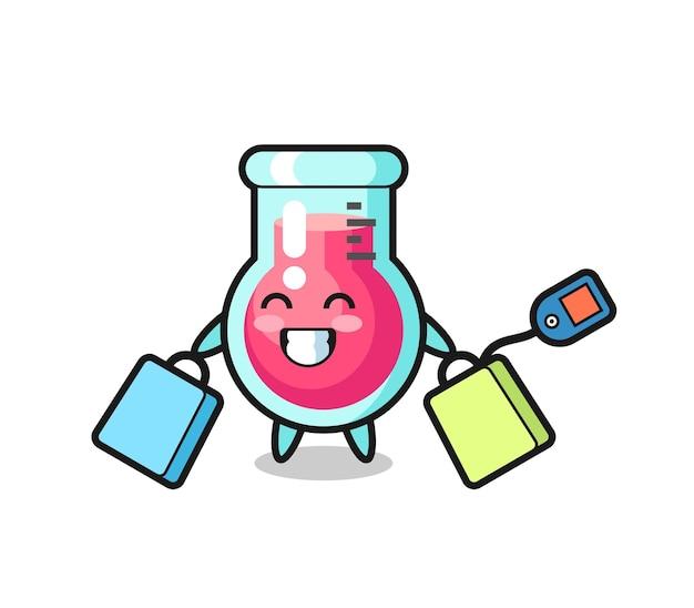 Fumetto della mascotte del bicchiere da laboratorio che tiene una borsa della spesa, design in stile carino per maglietta, adesivo, elemento logo