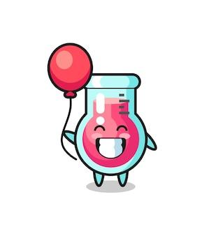 L'illustrazione della mascotte del bicchiere da laboratorio sta giocando a palloncino, design in stile carino per maglietta, adesivo, elemento logo