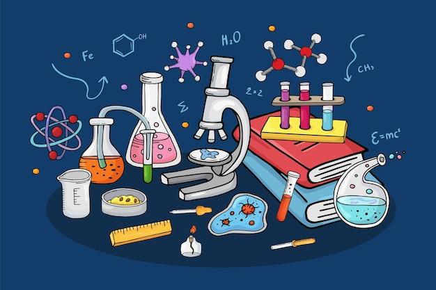 Ricerca chimica dell'illustrazione di vettore di concetto del laboratorio alle attrezzature di laboratorio per l'esperiment...