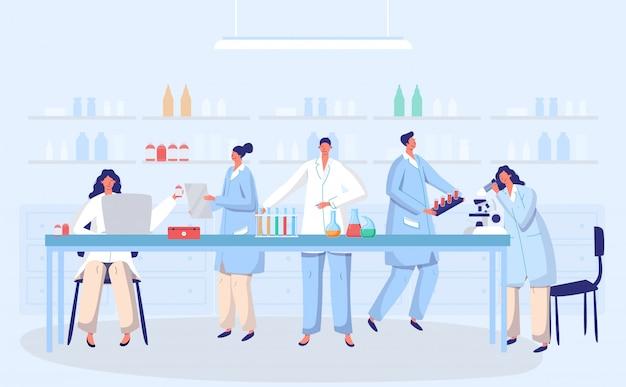 Concetto della gente di medici di ricerca di biologia antivirale del vaccino antivirus del coronavirus del laboratorio con l'illustrazione della boccetta. scienziati in laboratorio, ricercatori di virus chimici con apparecchiature di laboratorio