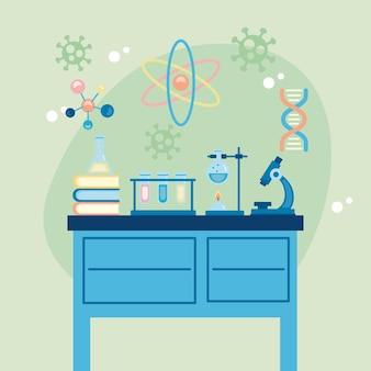Scrivania da laboratorio con microscopio ricerca vaccino