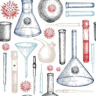 Schizzo di attrezzature di laboratorio. pipetta di vetro disegnata a mano e set di imbuto. apparecchiature per test di laboratorio di chimica e medicina. pipetta e imbuto per esperimenti scientifici o misurazioni e molecole di virus