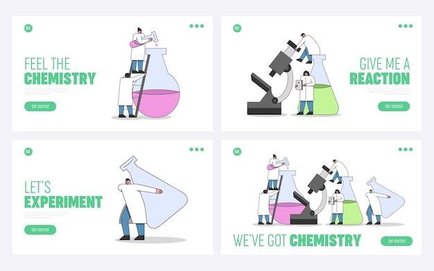 Concetto di esperimenti di laboratorio. pagina di destinazione del sito web.