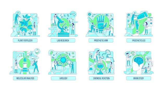 Insieme di concetto di linea sottile di esperimenti di laboratorio. personaggi dei cartoni animati di scienziati 2d per il web design. idee creative di biologia, chimica, protesi, neuroscienze e botanica
