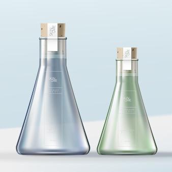 Flacone da laboratorio in vetro per bottiglia da bagno o contenitore per bagnoschiuma con tappo di sughero