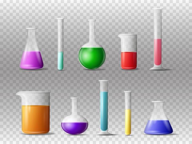 Insieme realistico 3d della vetreria di laboratorio isolato
