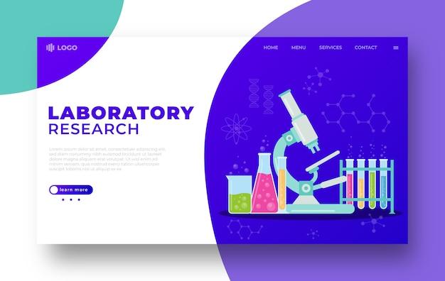 Modello di illustrazione della pagina di destinazione della ricerca di laboratorio