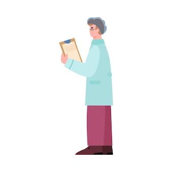 Ricercatore di laboratorio che tiene l'illustrazione piana di vettore della lavagna per appunti isolata