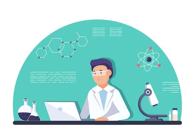 Ricercatore di laboratorio - donna scienziato isolato in camice da laboratorio con vetreria chimica