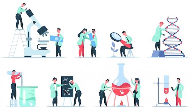 Scienziato di laboratorio. insieme dell'illustrazione di ricerca scientifica, microbiologia clinica, esperimenti farmaceutici, biochimici e del dna. ricerca medica per scienziati, test scientifici