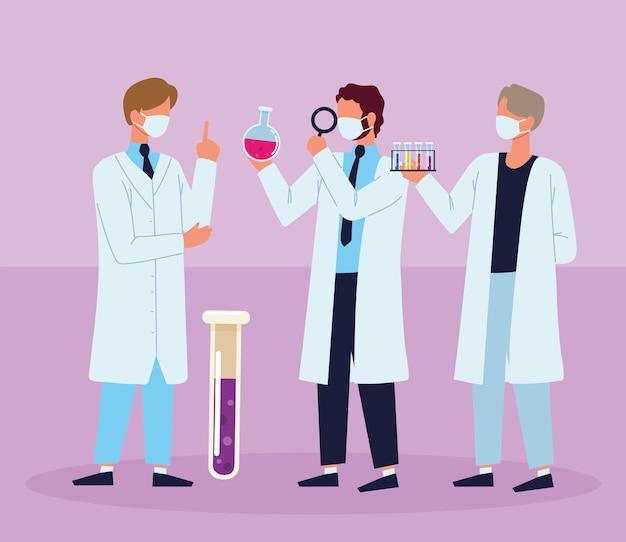 Scienziati di laboratorio che lavorano