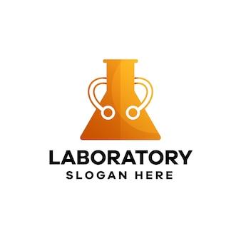 Design del logo del gradiente tecnico di laboratorio