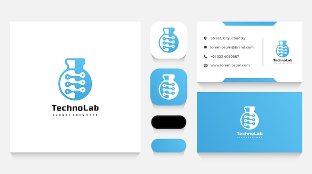 Modello e biglietto da visita del logo della tecnologia di laboratorio