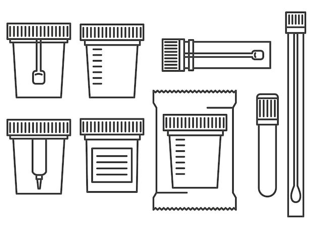 Contenitori per test di laboratorio. esamina l'urina, il biomateriale, le feci, lo sperma e il sangue in barattoli di plastica con coperchi.