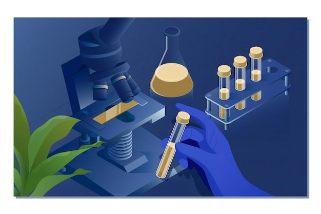 Operaio di laboratorio con microscopio