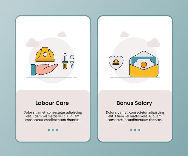 Campagna salariale bonus assistenza lavoro per l'onboarding del modello di app mobili