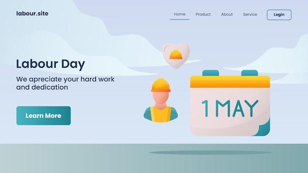 Campagna della festa del lavoro per il modello di pagina di destinazione della home page della home page del sito web