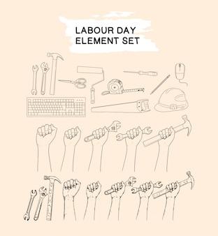 Insieme di elementi di festa del lavoro insieme disegno a mano