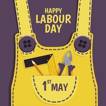 Illustrazione della festa del lavoro. abiti da lavoro con strumenti.
