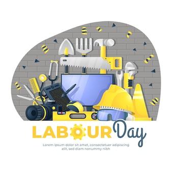 Festa del lavoro e illustrazione delle attrezzature di lavoro