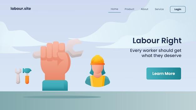 Campagna per i diritti del lavoro per il modello di atterraggio della home page della home page del sito web