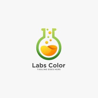 Logo dell'illustrazione di ricerca chimica di colore di labs.