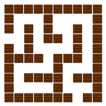 Labirinto gioco di logica educativo per bambini, terreno e letti. illustrazione vettoriale di un labirinto o cruciverba per il gioco.