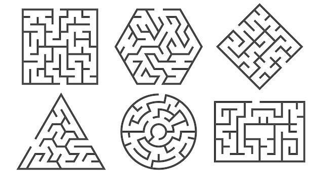 Gioco del labirinto in diverse forme grafiche per percorsi giusti o sbagliati