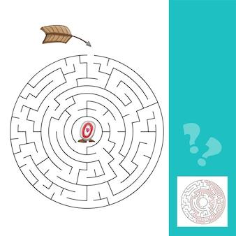 Labirinto con frecce. gioco di illustrazione vettoriale con risposta