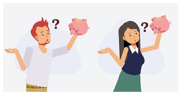 Mancanza di denaro, senza soldi, concetto di problema finanziario. l'insieme dell'uomo e della donna sta cercando di trovare soldi nel salvadanaio. illustrazione piana del personaggio dei cartoni animati di vettore 2d.