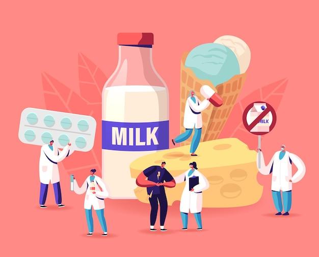 Concetto di intolleranza al lattosio. l'uomo si sente male allo stomaco visita l'ospedale per il trattamento. personaggio intollerante ai prodotti lattiero-caseari visitando il medico in clinica, assistenza sanitaria. cartoon persone illustrazione vettoriale