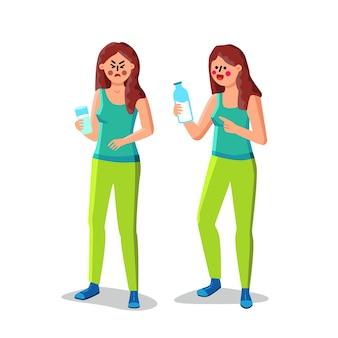 L'intolleranza al lattosio ragazza tenere un bicchiere di latte vettore. donna con indigestione di lattosio sofferenza mal di stomaco. carattere che tiene con l'illustrazione piana del fumetto della bevanda della latteria senza lattosio