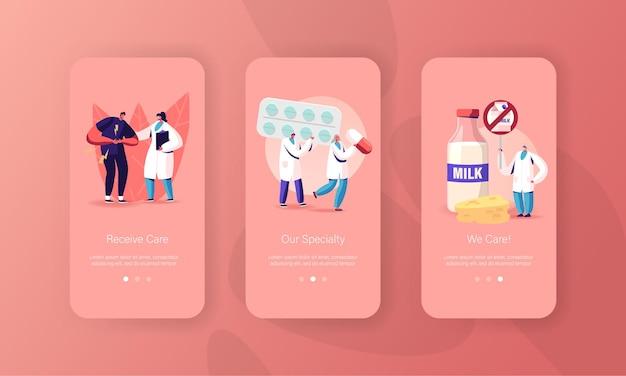Modelli di schermata delle pagine dell'app per dispositivi mobili per l'intolleranza al lattosio e al latte