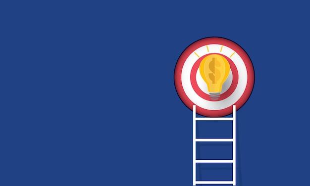 Scala che punta in alto verso l'obiettivo con la lampadina concetto di ispirazione business