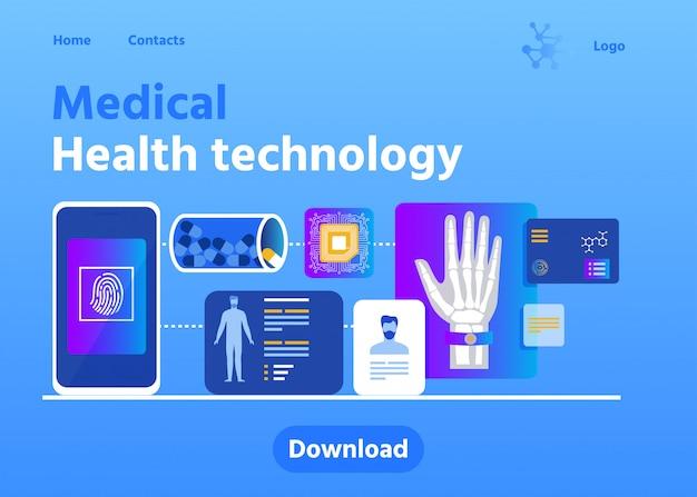 Pagina di carico pubblicità tecnologia di salute medica Vettore Premium