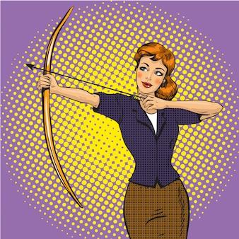 Lady archer in stile pop art
